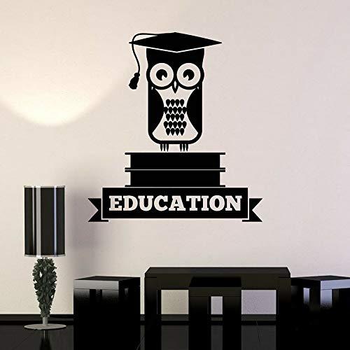 DLYD Vinyl Wandtattoo Bildung Hut Eule Bücher Schule Universität College Klassenzimmer Innenwand Aufkleber Kunst Wandbild 36x38.4cm