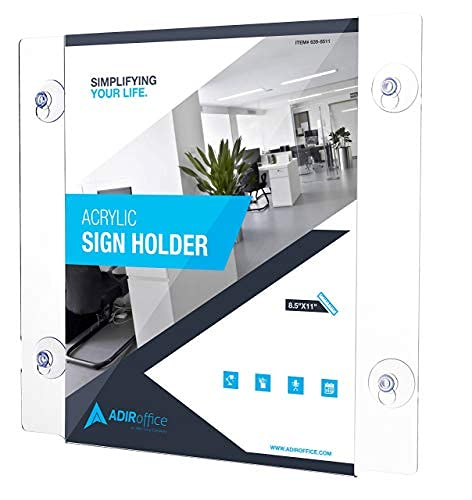 Adir Acrylic Window Sign Holder with Suction Cups 12 Pack (8.5-x-11-inch)