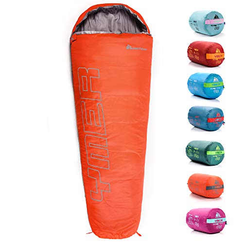 Sleeping Bag For Kids Camping Gear Travel Sleep Essential Insulated Warm Lightweight Traveling Hiking Indoor Outdoor All Season Spring Summer Fall YMER ((130+25) x60/40cm, Pink/Grey)