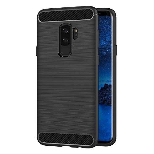 Hoesje voor Samsung Galaxy S9 Plus SM-G965F (6,2 inch Scherm) Geborsteld Koolstofvezel TPU Schokbestendige Antislip Zachte Beschermende Case (Zwart)