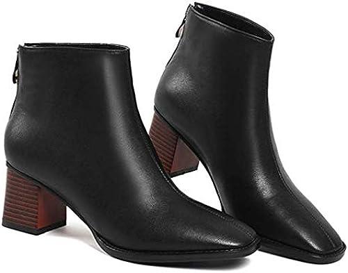 ZHRUI Damen Leder Fashion High Heel Stiefeletten Dick Mit Mit Mit Martin Stiefel (Farbe   Schwarz2, Größe   36EU)  Modegeschäft zu verkaufen