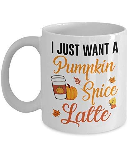 N\A Funny Pumpkin Spice Coffee Taza de cerámica Solo Quiero un Pumpkin Spice Latte cumpleaños de Halloween para los Amantes...