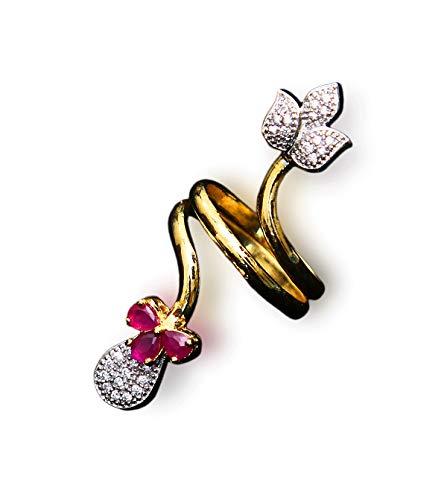 GemsOnClick chapado en oro amarillo pera Pink Rubí, circonita cúbica.