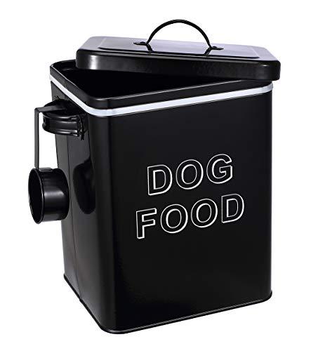 Pethiy - Cajas Almacenamiento de Alimentos y golosinas para Animales con herméticas Tapa y Pala, Acero al Carbono Revestido Contenedor de Comida para Perros-Capacidad 3kgs-Negro