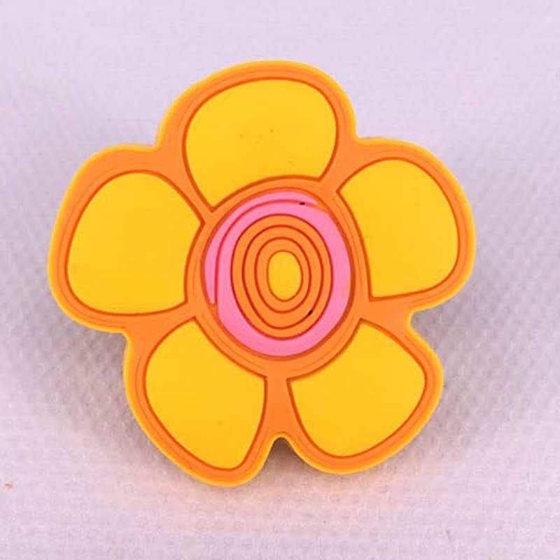 1x Soft Rubber Flower Knobs Cabinet Drawer Knob Kids Wardrobe Handle Furniture Closet Dresser Pulls For Kids Nursery Rooms Color Yellow