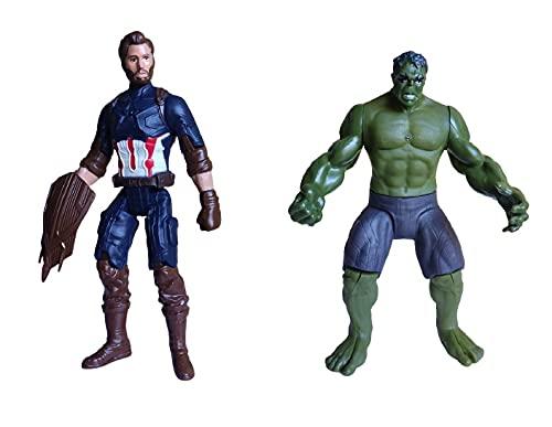 2 Bonecos Avengers Capitão América Hulk Boneco Articulado Vingadores Avengers Ultimato Heróis Articulado Cartela