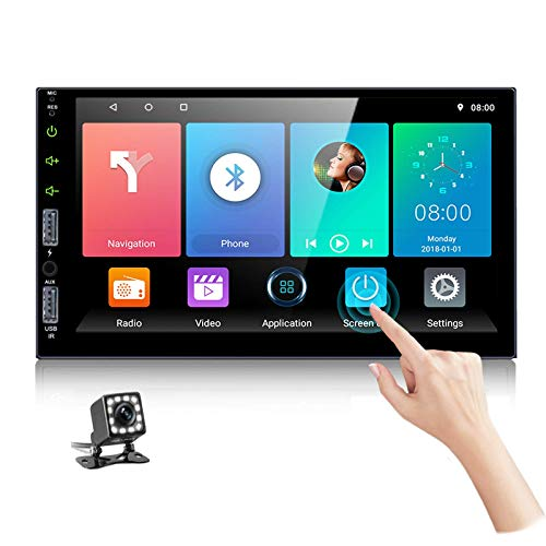 """Podofo Android Car Stereo with Bluetooth GPS 7"""" Touch Screen Double Din Car Radio with Backup Camera Car Multimedia Player, Four USB Input/Sub/FM Radio/WiFi/Aux/Phonelink"""
