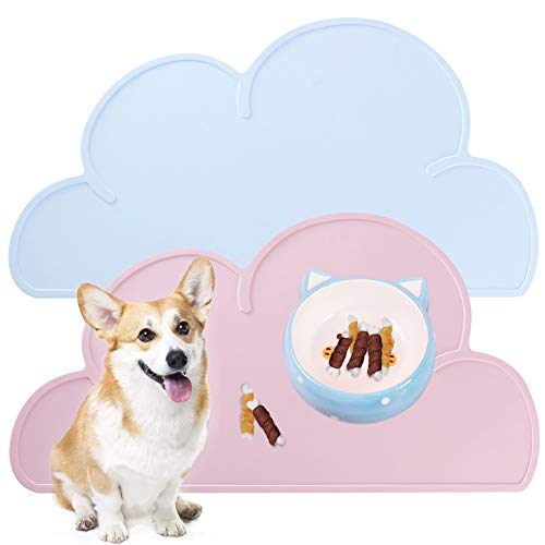Placemat for Dog Pet Cat Anti-Slip Silicone Bowl Mats Waterproof Cute Cloud Pattern Easy Clean Food Grade Feeding Placemat,Pink&Blue
