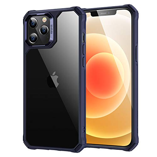 "ESR Air Armor Compatible with iPhone 12 Case/Compatible with iPhone 12 Pro Case (2020) [Military-Grade Drop Protection] [Shock-Absorbing Corners] Hard PC + Flexible TPU Frame, 6.1"" - Transparent Blue"