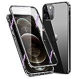 Hülle für iPhone 11 Magnetische Handyhülle 360 Grad KomplettSchutz case [mit Kamera lense Schutz] Metallrahmen Vorne & Hinten Gehärtetes Glas Stoßfest flip hülle,Schwarz