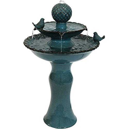 Sunnydaze Resting Birds Ceramic 2-Tiered Outdoor Water Fountain, 27-Inch
