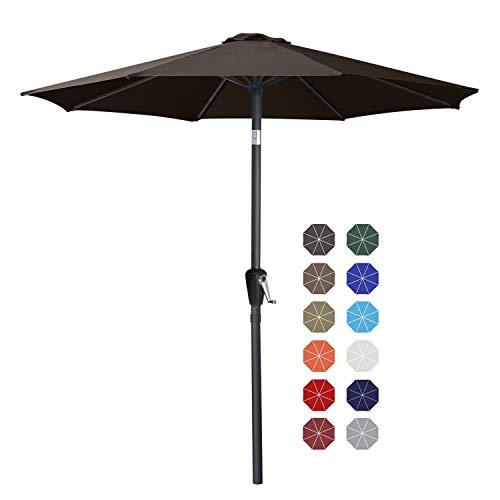 ABCCANOPY 270cm Sonnenschirm im Freien Wasserabweisende Bespannung -Gartenschirm Marktschirm,braun
