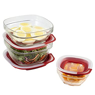 Rubbermaid Easy Find Lids Glass Food Storage Containers, Racer Red, 6-Piece Set 2856010