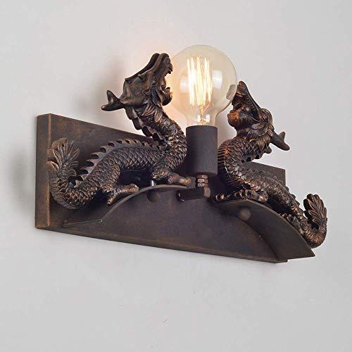 Aiqiyi Lámpara de pared de hierro forjado en forma de dragón clásico americano Farola de pared de metal antiguo Retro Nostálgico Hotel Restaurante Aplique de pared Pasillo Pasillo Luz de pared Edison