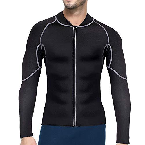 Adisputent Herren Sauna-Anzüge Lange Ärmel Fitness Thermo Shapewear Neopren Hohe Kompression Trainingsoberteile Sportbekleidung Körperformer für Gewichtsverlust