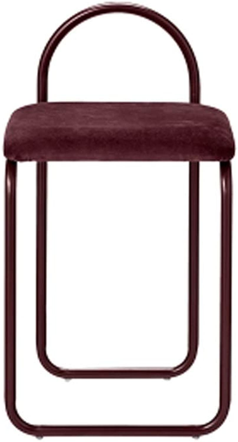 Barstool Nordic bar Stool Home Wrought Iron with backrest high Chair 3 colors 39  37  75.5cm (color   Red)