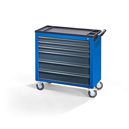 QUIPO Werkstattwagen JUMBO - mit 6 durchgehenden Schubladen, enzianblau - Schubladenrollwagen...