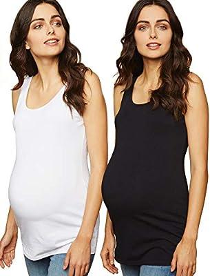 Motherhood Maternity Women's Maternity BumpStart 2 Pack Sleeveless Tank Tops, Black/White, Small