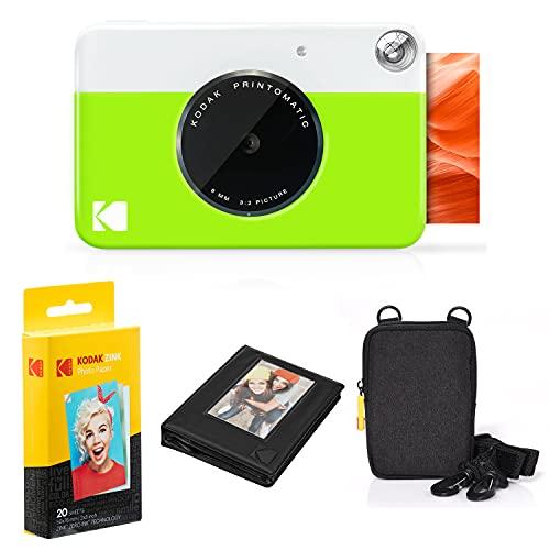 Kodak Printomatic Instant Camera Bundle (Green) Zink Paper (20 Sheets) - Case - Photo Album - Hanging Frames.