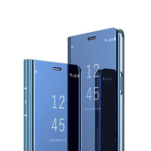 MRSTER Huawei Y7 2018 Hülle Clear View Standing Cover, Spiegel Handyhülle Schutzhülle Flip Hülle Schutz Tasche mit Standfunktion 360 Grad hülle für das Huawei Honor 7C / Y7 2018. Flip Mirror: Blue