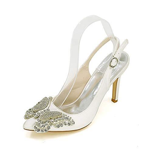 Slingback para Mujer Zapatos De Boda para Satén Nupcial Cómodo Punta Puntiaguda Tacones Altos Hebilla De Tobillo Rhinestone Shoes De Novia,Marfil,40 EU