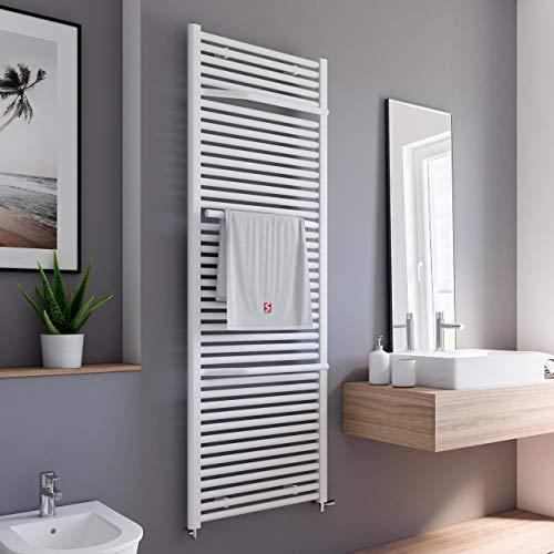 Schulte Bad-Heizkörper Miami, 177x60 cm, 1265 Watt, Anschluss unten, alpin-weiß, Design-Heizkörper mit Handtuchhalter-Funktion
