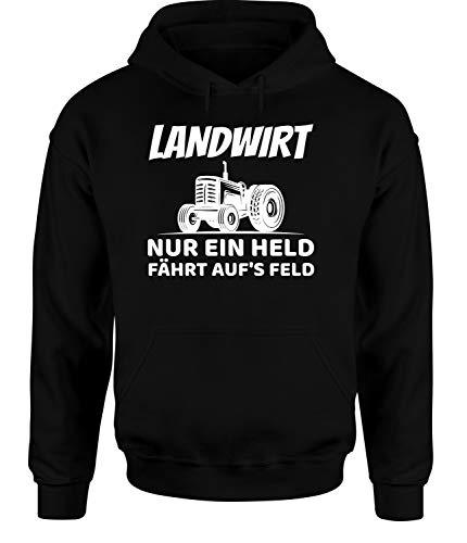 tshirtladen Nur EIN Held fährt aufs Feld! Landwirt Hoodie Unisex Bauernhof Hoodie, Farbe: Schwarz, Größe: Small