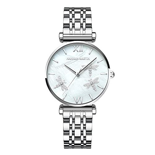 YIBOKANG Moda para Mujer Creativa Libélula Concha De Perla Acero Inoxidable/Cinturón Reloj De Cuarzo Impermeable Reloj De Moda para Regalo Informal Simple para Niñas