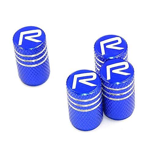 NA-Ventilkappen für Autoreifen, 4 Stück, Aluminiumlegierung, für Volvo C30 S60 XC60 S90 XC90 V60 S40 V40 V60 V90 XC40 R blau