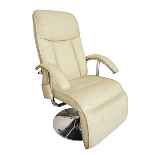 Festnight Fauteuil Relaxation Electrique et de Massage Cuir Artificiel Crème Blanc 137 x 68 x 104cm
