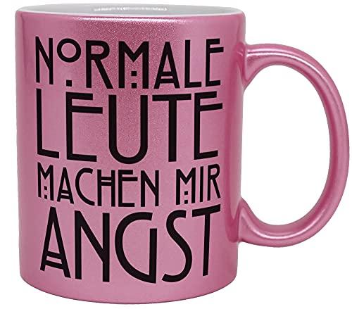 vanVerden Taza con purpurina con texto en alemán – Normale Leute machen mir Angst – Serie película cita – Impresión por ambos lados – Idea de regalo taza de café, color rosa brillante