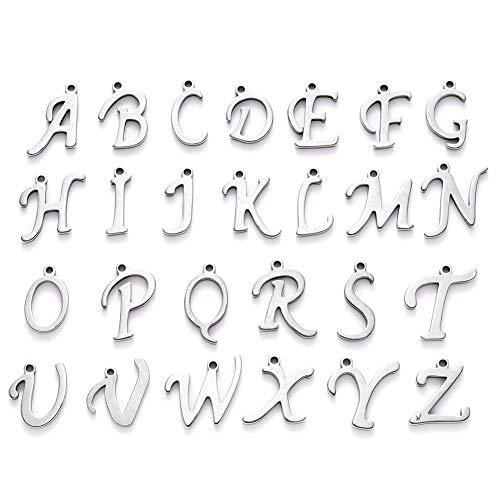 Cheriswelry 52 colgantes de acero inoxidable con diseño de letras A ~ Z con lazo para joyas, pulsera de amistad, collar