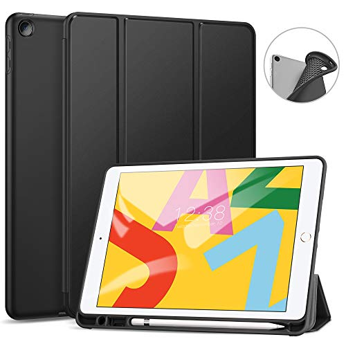 Ztotops Hülle für iPad 10.2 2019 und iPad 10.2 2020,Ultradünne Soft TPU Rückseite Abdeckung Schutzhülle mit eingebautem iPad Stifthalter,Automatischem Schlaf/Aufwach,für iPad 7/8 Generation ,Schwarz
