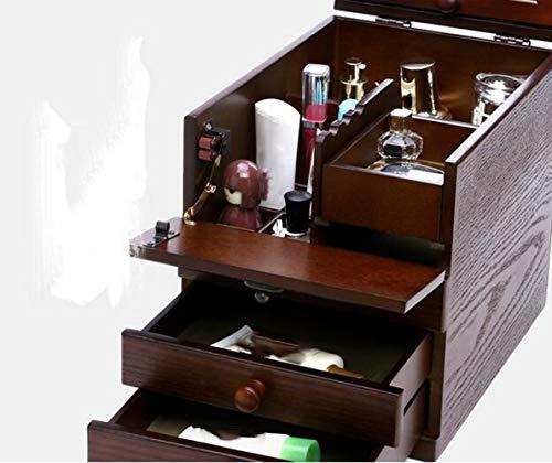 YAMEIJIA Jewelry opbergdoos, dressoir, houten spiegel, cosmetische tas, vintage make-up case