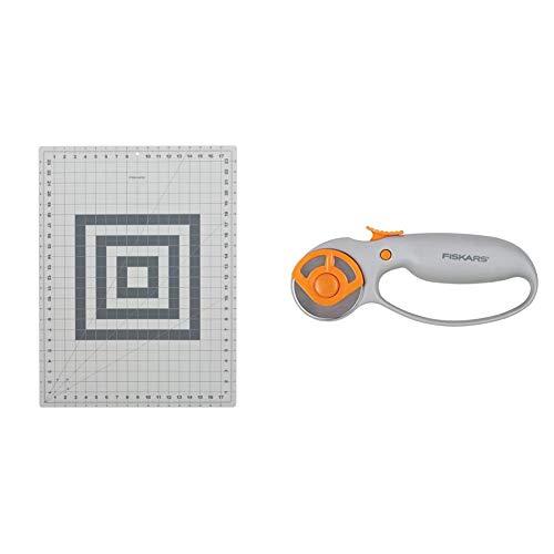 Fiskars 12-83717097J Self Healing Rotary Cutting Mat, 18x24 & Classic (45mm) Comfort Loop Rotary Cutter, 1, Steel and Orange