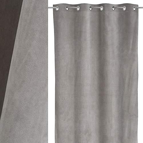 Cortina Lisa Plateada de Terciopelo de 140x260 cm - LOLAhome