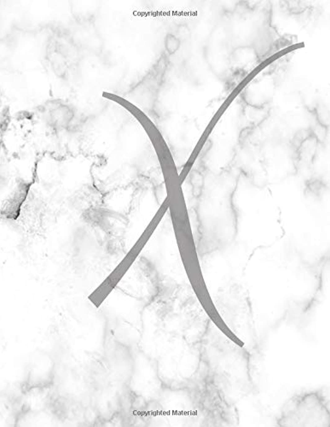 文字通り簡潔なダルセットX: Monogram Initial X Notebook for Women and Girls-Grey Marble-120 Pages 8.5 x 11