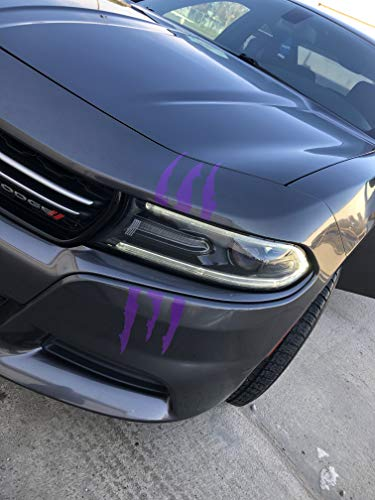 Claw Marks Headlight Decal Available in Twelve Colors!. Genuine ViaVinyl Brand Vinyl Sticker / Decal for Sports Cars (Plum Crazy Purple)