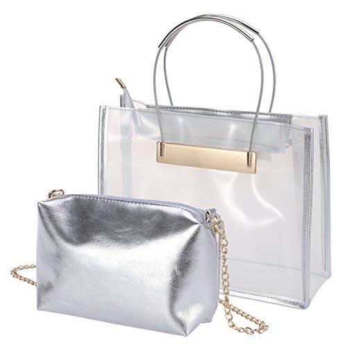 BESTOYARD 2Pcs Transparente Einkaufstasche Crossbody Tasche beiläufige Schultaschen-Schulter-Handtasche für Frauen Mädchen (weiß)