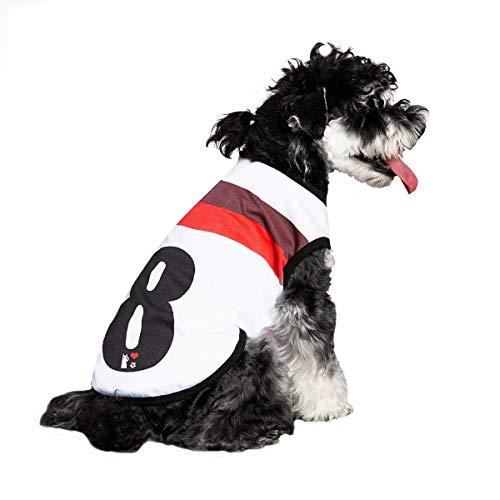 DaiShuGuaiGuai Hund Ärmellose T-Shirts Sommer Hund Weste Shirt Fußballuniform, Trikot Nr. 8. (XXL (Bust: 59CM))