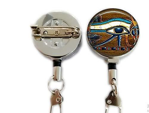 Schlüsselanhänger, Motiv: Auge des Horus, ägyptischer Schlüsselanhänger, ägyptisches Auge, Glasfliesen, Schmuck, ägyptisch, ausziehbarer Ausweishalter, Karabinerhaken