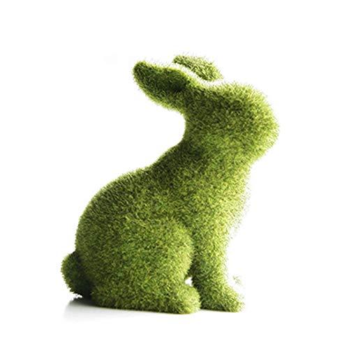 EUBEISAQI Osterharz Hase Figur beflockt Kaninchen Statue Frühlingsfest Garten Hof Dekorationen Party liefert Geschenke
