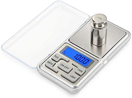 Báscula digital de pesaje, pantalla de retroiluminación LED, báscula de 0,01 g a 500 g, mini balanza digital de bolsillo para cocina, báscula de joyería, droga, té, levadura, café y otros por Revive