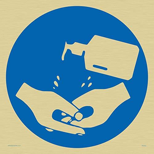Hand Desinfektionsmittel Symbol Schild – Kunststoff halbstarr Gold