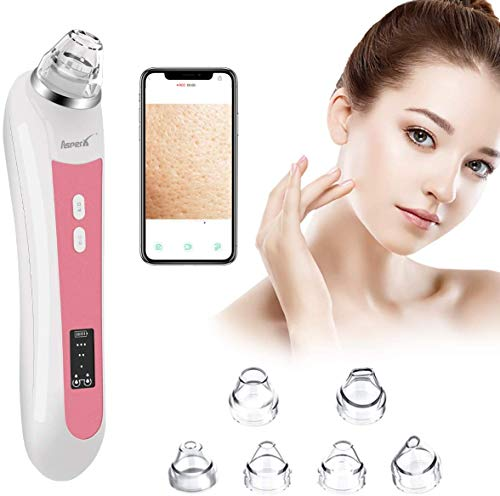 Blackhead Vacuum, AsperX 5.0 Megapixels Visible Blackhead Remover Facial Pore Vacuum, 20X Microscope Blackhead Suction Tool, Rechargeable Suction Facial Pore Cleaner with 6 Replaceable Tips(Upgraded)