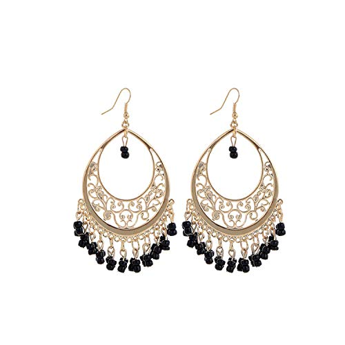 Price comparison product image Bohemia Gold statement earrings vintage Tassel Rhinestone Dangle black earrings jewelry, EH600