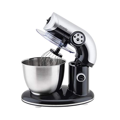 H.Koenig Robot Pétrin Professionnel KM80 Multifonctions 5.5L Noir Puissant 1000W, Robot Cuisine Pâtissier Pétrin 4 vitesses, Fouet, Batteur, Crochet, Pétrisseur, Couvercle anti-éclaboussure