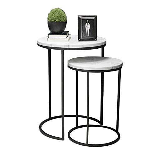 HYDT Mesas auxiliares Nordic ins Japanese End Nesting End Table, Creative Round Small Coffee Table Marble Sofa Mesita de Noche...