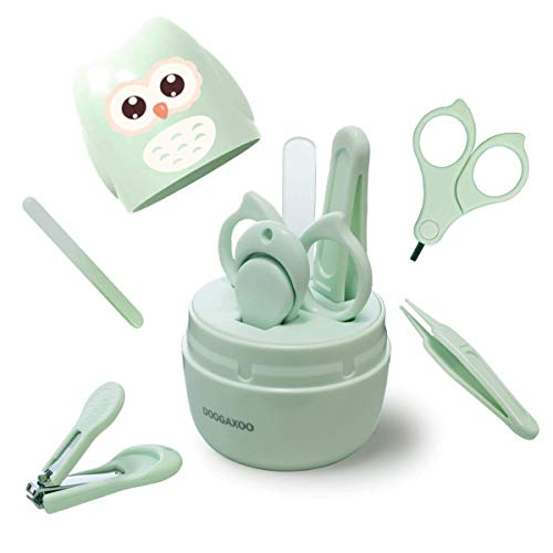 Baby Nail Clippers, 4-in-1 Safe Baby Nail Kit with Cute Case, Nail Clipper, Scissors, Tweezers, Baby Nail File Set for Newborn, Infant, Toddler and Kids-Owl Green