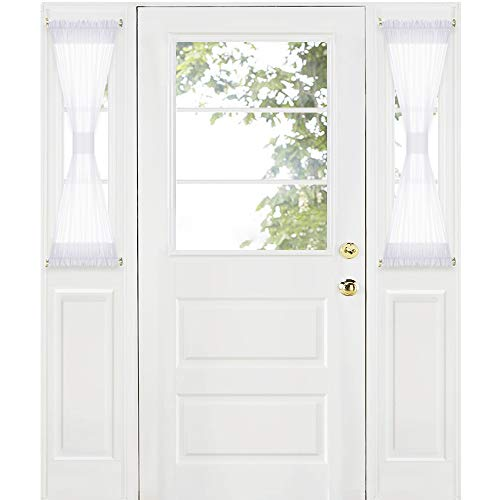 RYB HOME Sidelight Curtains for Front Door - White Sheer Curtains for French Door Back Door Entry Door Privacy Protected, Includes 2 Tiebacks, Wide 30 x Long 40 inch per Panel, 1 Pair